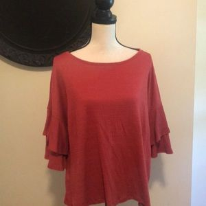 Cable and Gauge bell sleeve top